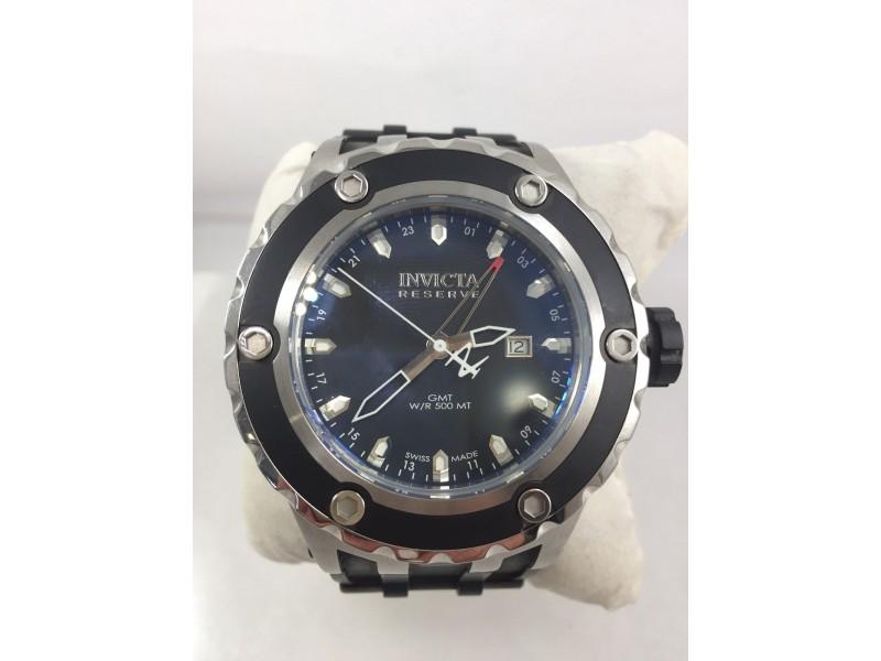 Men's Invicta 6181 Reserve GMT Black Polyurethane Strap Black Dial Watch