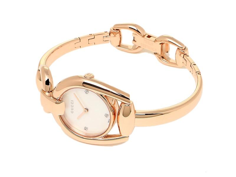 adb5264cf34 Gucci Horsebit YA139508 Rose Gold-Tone Stainless Steel Mother of Pearl  Diamond Dial 28mm Watch. 1