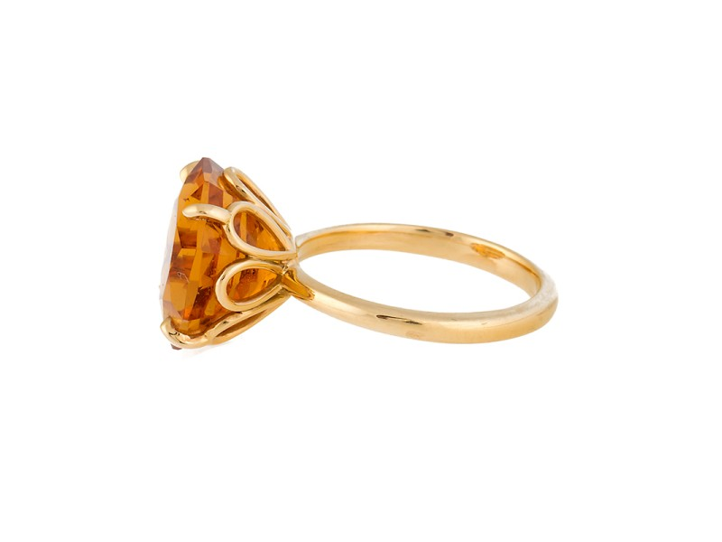 1fcae40a4 Tiffany & Co. 18K Yellow Gold with Sparklers Octagonal Citrine Ring Size 7.  1