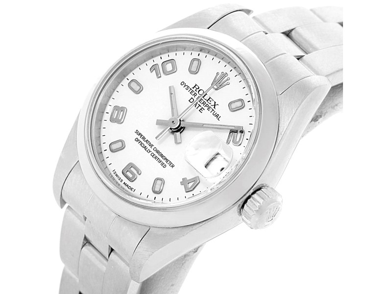 c255f6a8dfbf9 Rolex Date 79160 Stainless Steel White Dial 25mm Womens Watch ...