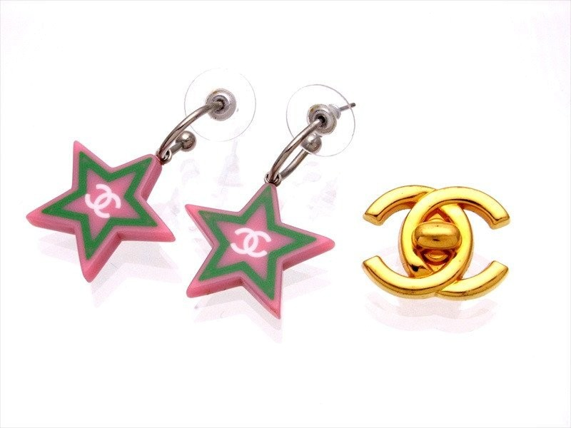 3ce2410661210 Chanel CC Logo Silver Tone Metal Star Dangle Stud Earrings