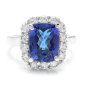 14K White Gold with 4.00ct. Tanzanite and 1.0ct. Diamond Ring Size 6.25