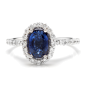 14K White Gold 2.20ct Blue Sapphire and 0.70ct Diamond Ring Size 6.75