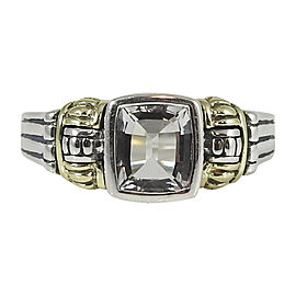 Lagos 925 Sterling Silver 18K Yellow Gold White Topaz Glacier Ring Size 6.0