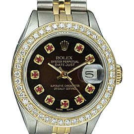 Rolex Datejust 6917 Stainless Steel / 18K Yellow Gold with Brown Dial 26mm Womens Watch
