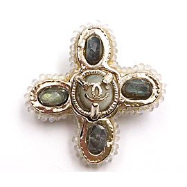 Chanel CC Gold Tone Hardware Iridescent White & Green Stone Cross Small Brooch