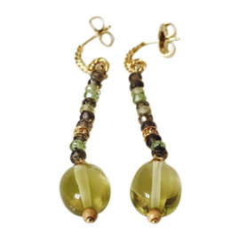 David Yurman 18K Yellow Gold Citrine Smoky Quartz Prasiolite Tweejoux Earrings
