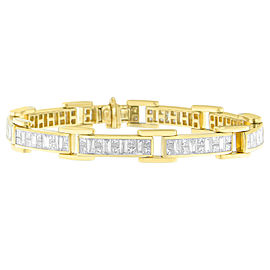 14K Yellow Gold 7ct. Baguette And Princess-cut Diamond Bracelet