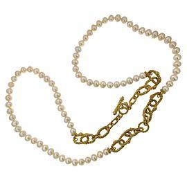 Judith Ripka 925 Sterling Silver & 18K Gold Plated Pearl Bracelet Necklace