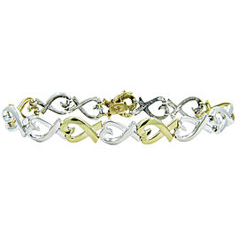 Tiffany & Co. Paloma Picasso 18K Yellow Gold & 925 Sterling Silver X Heart Bracelet