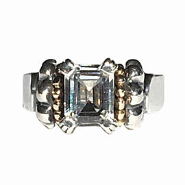 Lagos Caviar Sterling Silver & 18K Yellow Gold White Topaz Ring Size 7
