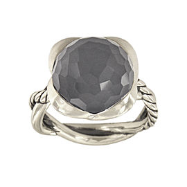 David Yurman Continuance Sterling Silver with Hematine and Crystal Overlay Ring Size 7.5