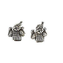 Kieselstein-Cord Vintage Sterling Silver Alligator Huggie Hoop Earrings