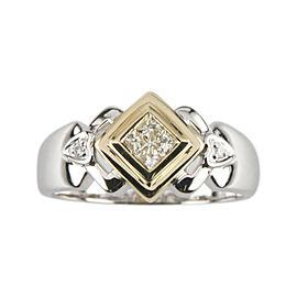 14k Yellow and White Gold Princess & Round Diamond Ring