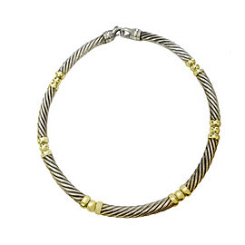 David Yurman Silver & Yellow Gold Cable Choker Necklace