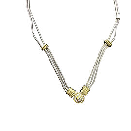 14K Yellow and White Gold 0.35 Ct Center Diamond Necklace