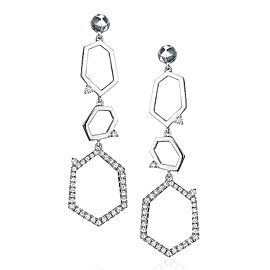 Mimi So Jackson Pave Diamond Three Link Earrings