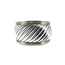 David Yurman 18k Yellow Gold, Sterling Silver Wide Carved Cable Cuff Bracelet