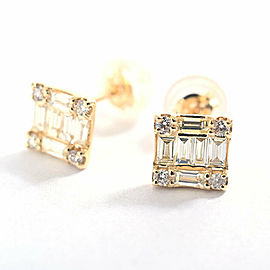 18K Yellow Gold Diamond Pierced Earring