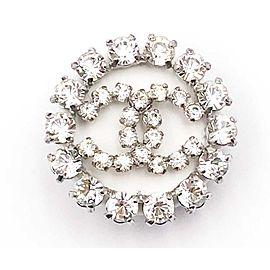 Chanel Silver Tone CC Crystal Brooch