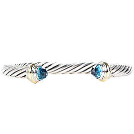 David Yurman Cable Classic Sterling Silver and 14K Yellow Gold with Blue Topaz Bracelet