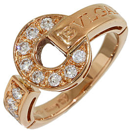 Bulgari Bvlgari BB 12P Diamonds Ring in 18k Rose Gold US4.5 w/Box