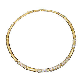 Cartier 18K Yellow Gold Bamboo Diamonds Pendant Necklace