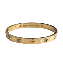 Cartier Love 18K Yellow Gold 4 Diamond Bracelet Size 16