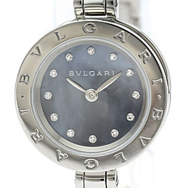 BVLGARI BZ23S B-Zero1 Stainless steel Diamond Blue MOP Dial Quartz Watch