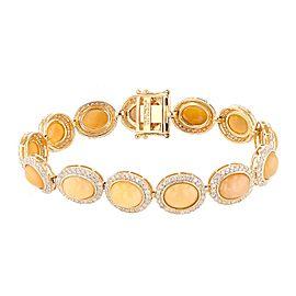 14K Yellow Gold Opal Diamond Bracelet