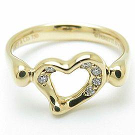 TIFFANY&CO 18K Yellow Gold Diamond Open Heart Ring