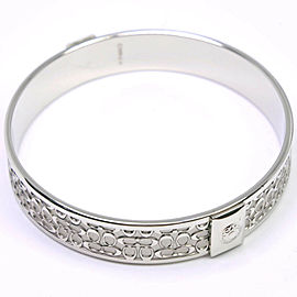 COACH Silver Signature Ble Rubbed T Bangle NST-333