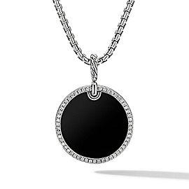 David Yurman Elements Disc Pendant with Black Onyx and Diamond Rim