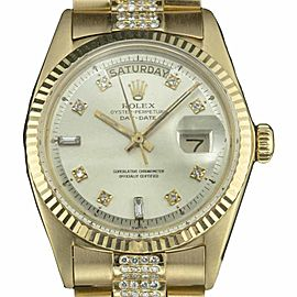 Rolex Day-Date 18038 18K Yellow Gold with Silver Diamond Dial 36mm Mens Watch