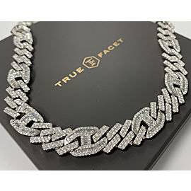 14K White Gold Men's 33.17ct Diamond Necklace