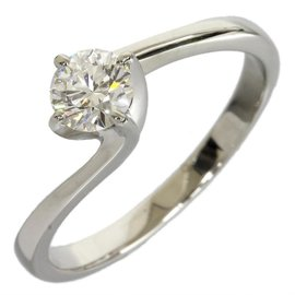 Mikimoto Platinum Solitaire Diamond Ring Size 4.5