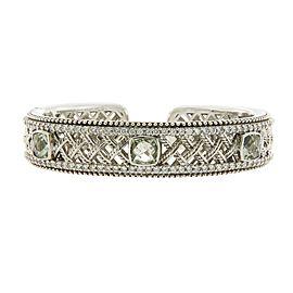 Judith Ripka Sterling Silver Green Topaz and Diamonique Bracelet