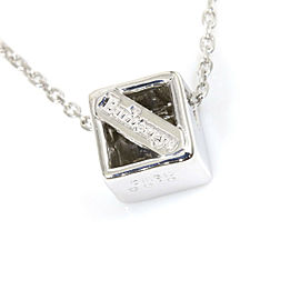 Burberry 18K White Gold 0.08ct Diamond Cube Necklace Pendant CHAT-223