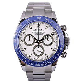 Rolex Daytona 116520 Stainless Steel-White Dial-Blue Insert Chronograph 40mm Mens Watch