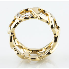 "Cartier Vintage 18k Yellow Gold ""C de Cartier"" Diamond Ring Sz 7.5"