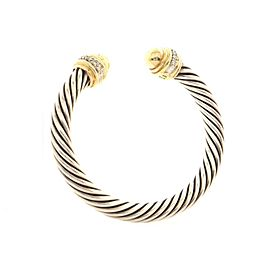 David Yurman Cable Classic Bracelet Sterling Silver with 18K Yellow Gold and Diamonds 7mm