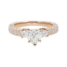 14K Rose Gold with 1.30ct Diamond Heart 3 Stone Engagement Ring Size 6