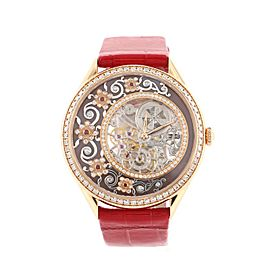 Vacheron Constantin Metiers D'art Fabuleux Ornements French Lace Manual Watch Rose Gold and Alligator with Diamonds, Red Sapphires and Enamel 37