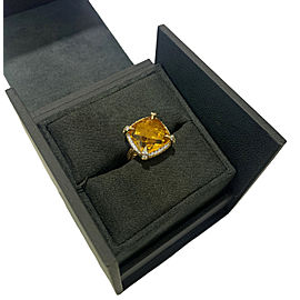 David Yurman Yellow Gold Chatelaine Ring Citrine 14mm