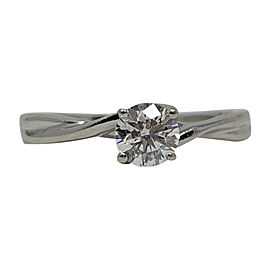 14K White Gold Diamond Solitaire Engagement Ring Size 8