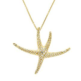 Tiffany & Co. Starfish Elsa Peretti 18K Yellow Gold Diamond Necklace