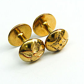 Louis Vuitton Metal Cufflinks Gold Flower Buton de Manchette M30974