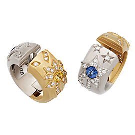 Chanel 18K Yellow and White Gold with 1.30ctw Diamond and Blue & Yellow Sapphire Comete Huggie Earrings