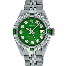 Rolex Datejust Stainless Steel and 18K White Gold with Green Diamond and Emerald Bezel 26mm Womens Watch