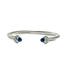 David Yurman Cable Sterling Silver Blue Topaz Diamond Bracelet